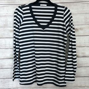 Vince Black and White Striped Long Sleeve Top